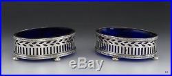Pair Antique Sterling Silver Cobalt Blue Glass Tiffany & Co Salt Cellars