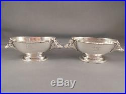 Pair Antique Sterling Silver Rand & Crane Boars Head Open Salt Cellars Pigs