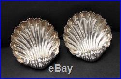 Pair Antique Sterling Silver Shell Open Salt Cellars Hallmarked Birmingham 1897