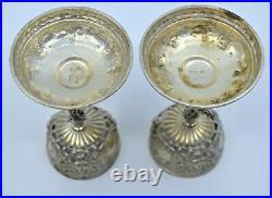 Pair Antique Sterling silver salt pepper cellars spoons child cherub large