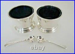 Pair Art Deco Silver Salt Cellars & Spoons, Birmingham 1947