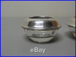 Pair Frank M. Whiting Sterling Silver Rimmed Crystal Salt Cellars