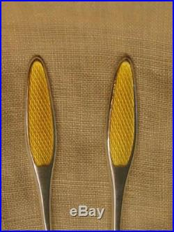 Pair Frigast Denmark 925 Sterling Yellow Guilloche Enamel Salt Cellars & Spoons