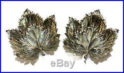 Pair Gianmaria Buccellati Sterling Silver Geranium Leaf Salt Cellar Dishes, 1990