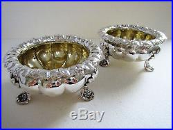 Pair Heavy 248g! GEORGIAN Antique Sterling Silver English Salts Dish Bowl Cellar