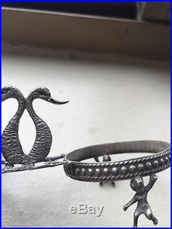 Pair Italian 800 Silver Salts Holders Ca. 1920 4Alabaster Bowls 4 Spoons