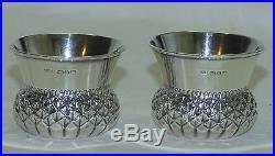 Pair Millward Banks Birmingham English Sterling Silver Thistle Open Salt Cellar