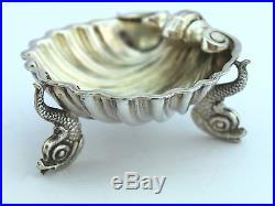 Pair Of Antique Solid Silver Dolphin Open Salt Cellars c. 1866