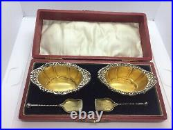 Pair Of Edwardian Antique Silver Salt Cellars With Spoons In Fitted Case 1908
