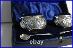 Pair Of English Antique Solid Silver Cased Salts & Spoons