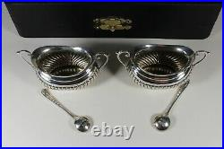 Pair Of English Antique Solid Silver Cased Salts & Spoons #2