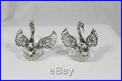 Pair Of Ornate German Sterling Silver & Crystal Swan Salt Cellars
