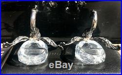 Pair Of Sterling Silver Swan Salt Cellars 3 Tall