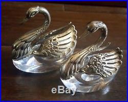 Pair Of Vintage German Albert Bodemer Crystal Silver Swan Open Salt Cellar