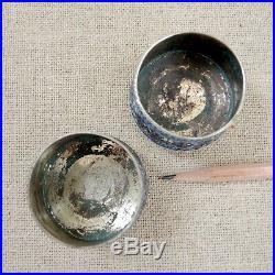 Pair Russian Imperial Cloisonné 84 Silver Salt Dish Moscow Enamel Kokoshnik 1900