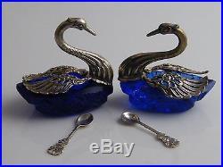 Pair Silver Plated & Bristol Blue Glass Salt Cellars In Swan Form