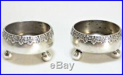 Pair Tiffany Sterling Silver Ball Footed Salt Cellars