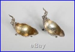 Pair Victorian Sterling Salts with Cherubs Salt Celler Antique