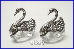 Pair Vintage Albert Bodemer 835 Silver & Cut Crystal Swan Salt Cellars Germany