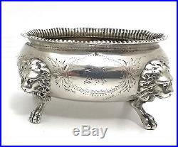 Pair of 1850s Gorham Coin Silver Lion Head Salt Cellars 1855-1860 NR