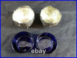 Pair of Antique Sterling Silver Cherub Salt Cellars Cobalt Blue Glass Inserts
