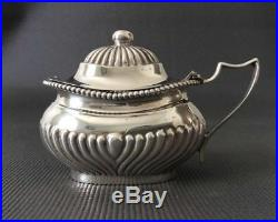 Pair of Antique Sterling Silver Master Mustard Pots / Salt Cellars