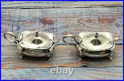 Pair of English Sterling Silver Salt dips and spoons, Blue cobalt liners