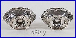 Pair of George Hunter I London Sterling Silver Cobalt Glass Liners Salt Cellars