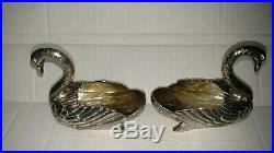Pair of Rare Antique French 950 silver Leon Lapar Beguin swan open salts 343gr