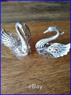 Pair of STERLING Swan Salts GERMANY