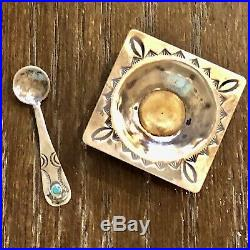 Pawn Silver Turquoise Navajo Indian Salt Cellar Dip & Spoon Vintage Antique