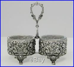 Portuguese 925 Sterling Silver Heavy Detailed Swirl Ornate Double Salt Holder