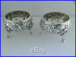 Pr Sterling S KIRK & SON Master Salt Cellars / Dishes & Spoons REPOUSSE no mono