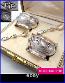 Puiforcat Antique Pair Of French Sterling Silver Salt Cellars Mimosa Art Nouveau