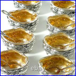 Puiforcat French Sterling Silver 18k Gold Set 8 Salt Cellars, Boxes, Mistletoe