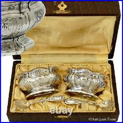 Puiforcat French Sterling Silver Salt Cellars Pair, Spoons, Box