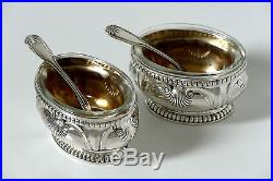 Puiforcat Gorgeous French Sterling Silver 18K Gold Salt Cellars Pair withspoons