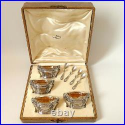 Puiforcat Masterpiece French Sterling Silver 4 Salt Cellars, Box, Ram's Head