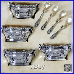 Puiforcat Masterpiece French Sterling Silver Four Salt Cellars, Box, Ram's Head