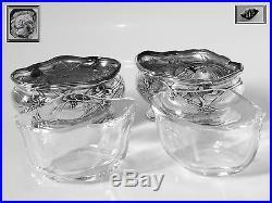 Puiforcat Top French Sterling Silver 18k Gold Salt Cellars Pair Art Nouveau
