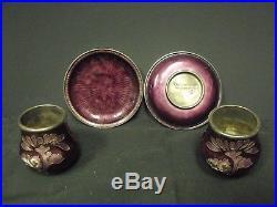 RARE 99% Silver Korean Guilloche Enamel Salt & Pepper Cellars with Under Plates