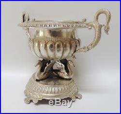 Rare German Solid Silver Swan Motif Open Salt Cellar Dish 1880-1900 5.5 Ounces
