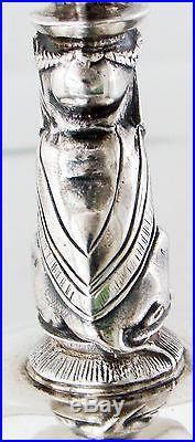 Rare Heavy And Elegant Coin Silver Figural Sphinxs Salt Cellars By Gorham