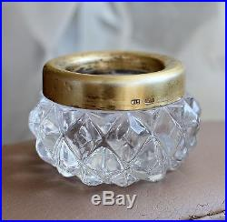 RUSSIAN SOVIET USSR CUT CRYSTAL GILT SILVER 875 SALT CELLAR 109.4gr. GOLD PLATED