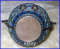 Rare Antique Sterling Salt Plique A Jour Salt Dish Rare Open Salt MH 930 Norway