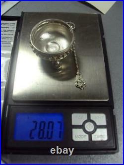 Rare Antique Vintage Sterling Silver 800 Salt Cellar Salt Shaker & Spoon 28 gr