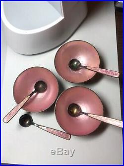 Rare Meka Denmark Sterling Silver Enamel Salt Cellars & Spoons