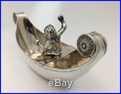Rare Nuremberg German Silver 1700-1800 Figural Salt Cellar Dish withCherub