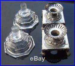 Rare Pair Genoa H/m Circa 1850 Solid Silver And Glass Italian Salt Cellars
