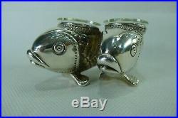 Rare Silver 925 (Sterling Silver) Fish Shaped Salt & Pepper Bowls / Cellars